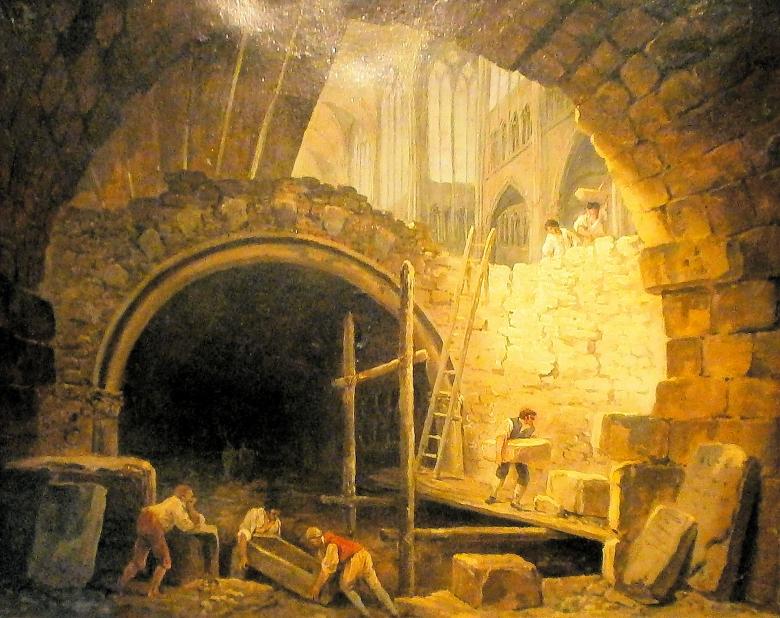 """Erst die Monumente, dann die Menschen: Das Gemälde """"Die Beschädigung der Gewölbe der Könige in der Basilika von Saint-Denis"""" von Hubert Robert (zwischen 1793 und 1808) zeigt die Plünderung der Königsgräber im revolutionären Frankreich im Jahre 1793. Unmit"""