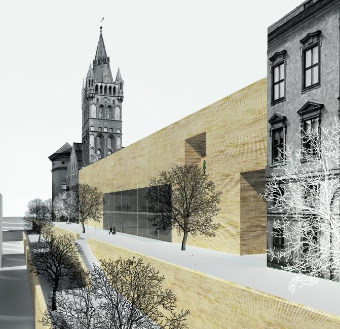 Kombination aus Alt und Neu: Die Südseite des Entwurfs, mit dem der Architekt Anton Sagal 2015 einen Ideenwettbewerb von Stadt und Oblast Kaliningrad gewonnen hatte