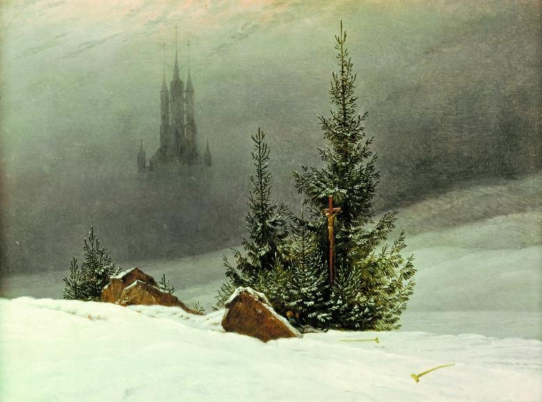 """Tannen im Schnee: """"Winterlandschaft mit Kirche"""" von Caspar David Friedrich, 1811"""